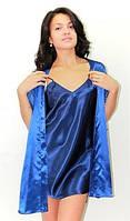 Комплект рубашка и халатик. Комплект: ночная сорочка на бретелях и халатик - кимоно, цвет: темно-синий.