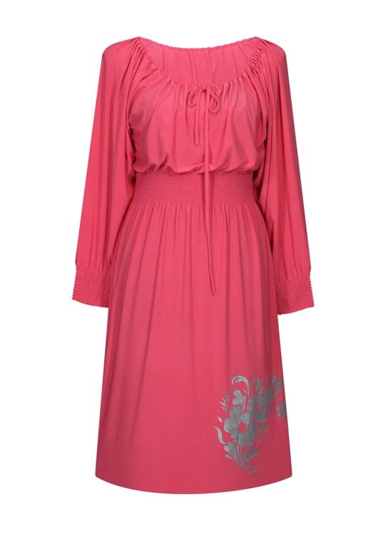 платье с поясом Букет
