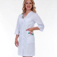 медицинский женский халат с коротким рукавом