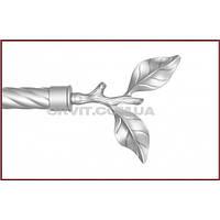 Наконечник к кованым карнизам Листок Розы ø25мм цвет сатин-никель