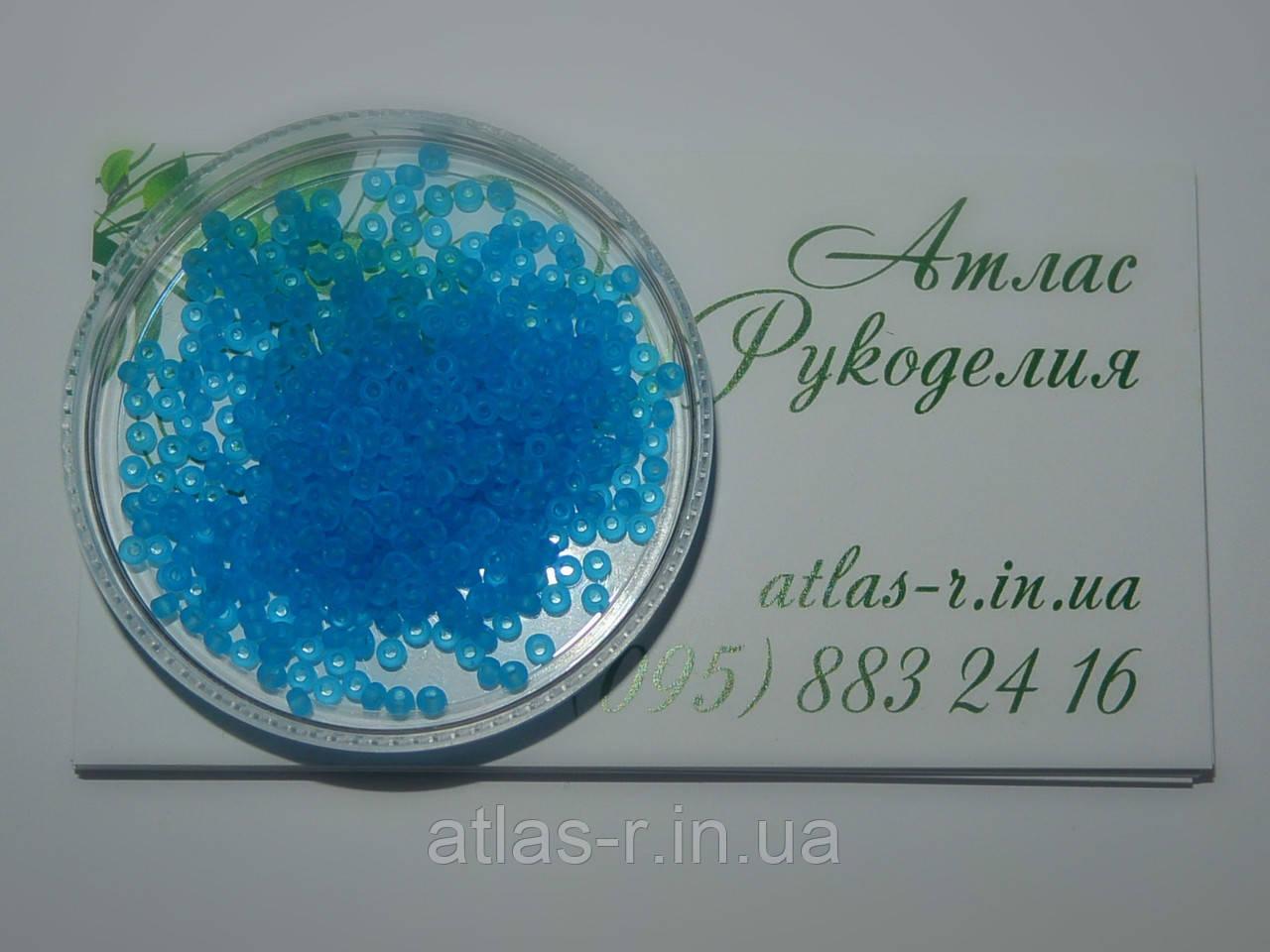 Бисер Preciosa Чехия №60030 matt 1г, голубой, прозрачный, матовый