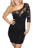 Цены ниже закупки. Женское черное платье с ассиметричным рукавом и гипюром L2363