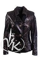 Черная кожаная куртка пиджак (размер S)