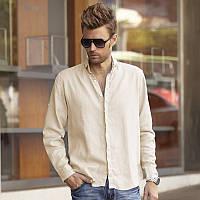Мужская рубашка льняная. Цвет любой на выбор. Пляжный и городской стиль, фото 1