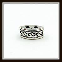 Разделитель на 2 нити, серебро (1*0,5*0,4) 20 шт. в уп.