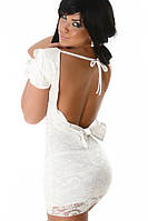 Распродаже по ценам закупки. Белое гипюровое платье с бантом на спине L2461-1