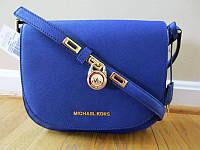 Синяя кожаная сумка-клатч Michael Kors. Натуральная кожа