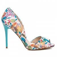 Шикарные женские летние туфли с вырезами цветные (цветочный принт)