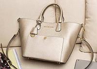 Золотая кожаная женская сумка Michael Kors. Натуральная кожа