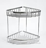 Полка для ванной угловая двойная сетка 22 x 22 см
