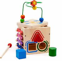Деревянная игрушка Куб лабиринт 5 в 1 МДИ Д376, фото 1