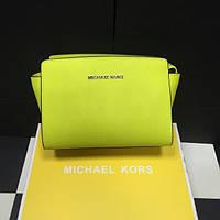 Салатовая кожаная женская сумка Michael Kors. Натуральная кожа