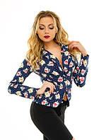 Женский короткий пиджак джинс-котон в цветочный принт