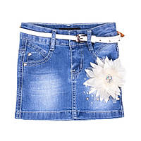 Джинсовая юбка для девочек с цветком