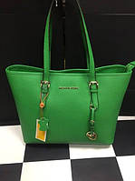 Зеленая кожаная сумка Michael Kors. Натуральная кожа