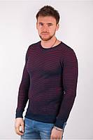Стильный мужскорй свитер в тонкую полоску бежевый, бирюзовый, коралловый, фиолетовый