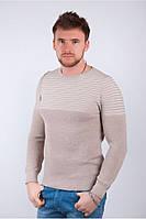 Милый мужской свитер с полоской в области плеч бежевый, желтый, коричневый, оранжевый, серый, темно-синий, электрик