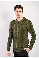 Великолепный мужской свитер с узорами горчичный, зеленый, коричневый, электрик