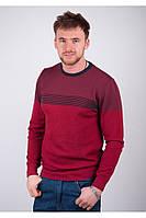 Молодежный мужской свитер с полосками с области плеч бордо, коричневый, серый, темно-синий, хаки