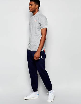 Мужские спортивные штаны Jordan т.синиие с принтом, фото 2