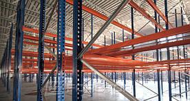 При разработке проекта важным моментом было использовать по максимуму доступную высоту склада. Было принято решение выбрать 4-х уровневую систему хранения — 3 стеллажных уровня + пол.