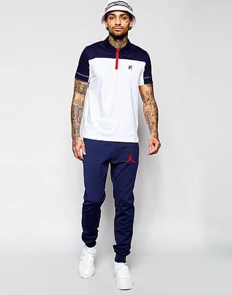 Мужские спортивные штаны Jordan т.синие (красный принт), фото 2