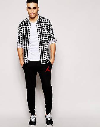 Мужские спортивные штаны Jordan черные (красный принт), фото 2