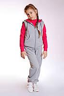 Спортивный костюм для девочки с жилетом малиновый