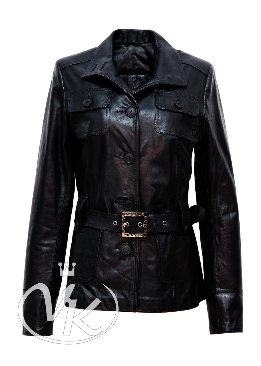 Кожаная куртка на пуговицах черная женская 44 размера (Арт. RA-N201)