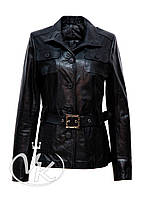 Черная кожаная куртка длинная (размер S-XL)