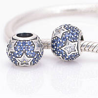 "Шарм бусина Pandora (Пандора) ""PAVE Синее сердце цирконий с белыми звездами"""