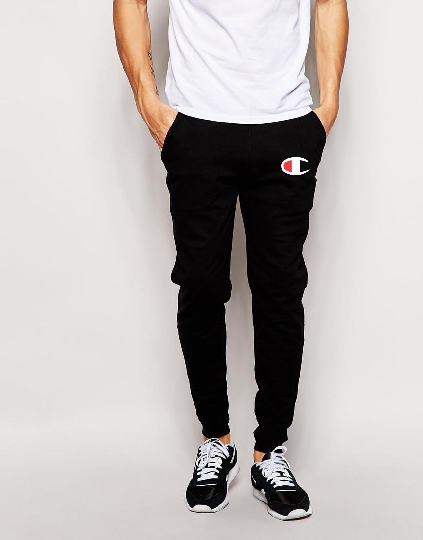 71a27999 Мужские спортивные штаны Champion черные с принтом - Хайповый магаз. Supreme  Thrasher ASSC Palace Юность