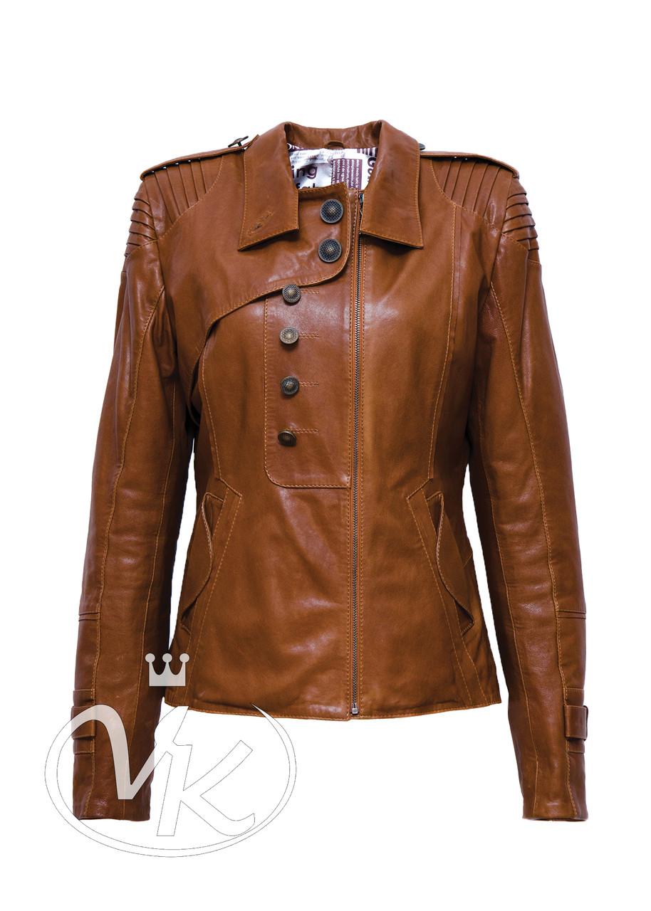 Рыжая кожаная куртка короткая женская 42 размера (Арт. A211)