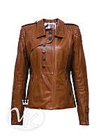 Рыжая кожаная куртка (размер S-2XL), фото 1