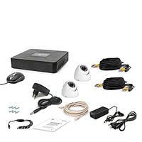 AHD комплект наблюдения на 2 купольные уличные камеру Tecsar 2OUT-DOME, 1 Мп