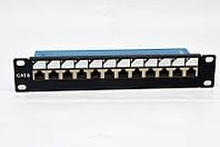 """Патч-панель 10 """", 12xRJ-45 FTP, кат. 6, экранированная"""