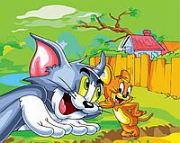 Картина по номерам на холсте без коробки BK-GX6239 Том и Джери (40 х 50 см) Без коробки