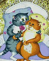 Картина по номерам на холсте без коробки BK-GX7059 Влюбленные котики (40 х 50 см) Без коробки