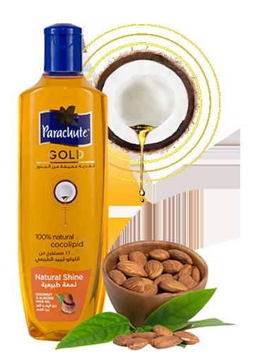 Кокосовое масло для блеска волос с экстрактом Миндаля ТМ Parachute Gold 200 мл