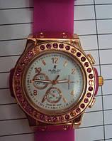 Женские часы Hublot Pink с камнями, розовые часы Хаблот