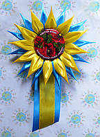 Значок Цветок души с розеткой Астра с ленточкой