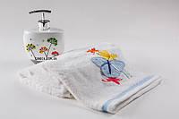 Мягкое хлопковое полотенце с объемной апликацией- бабочкой 50x90 см Мидов цвет белый