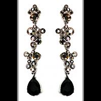 Серьги длинные, серые камни с черными каплями, металл под серебро 000641
