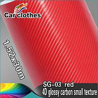 Карбоновая пленка 4D красная
