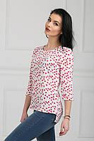 Легкая летняя блуза из сатина белая с красными бабочками