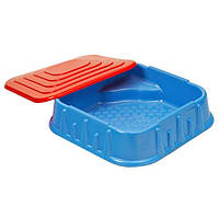 Песочница квадратная с крышкой (синяя). starplast 04-516