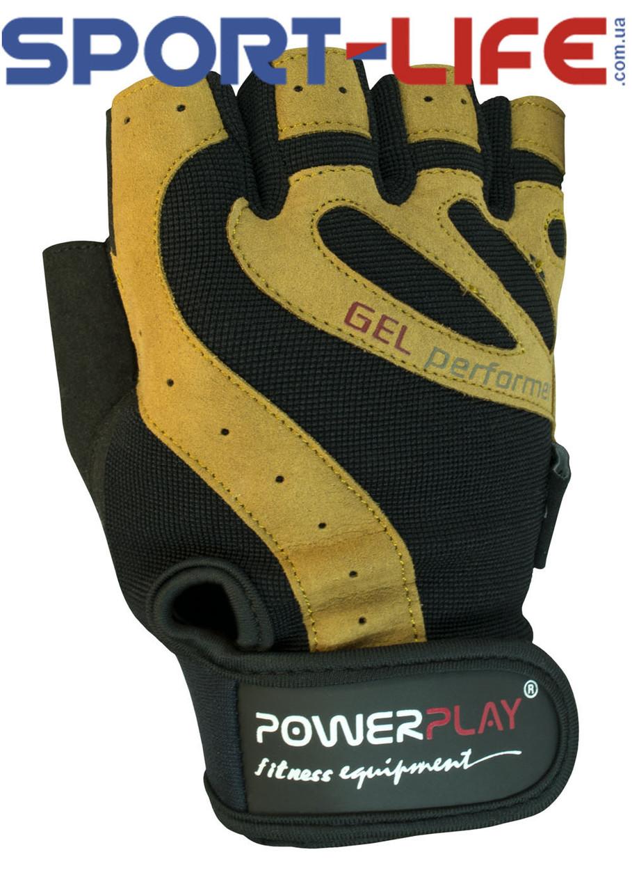 Перчатки PowerPlay для спортзала ЖЕЛТЫЕ из прочной кожи