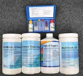 Химия для бассейнов, комплект «Оптимум» (альгицид, шок хлор, мульти таб, Ph -, тестер)
