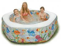 """Детский надувной бассейн с мягким надувным дном 56493 """"океанский риф""""  кк hn"""