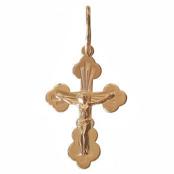 Золотой нательный крестик с распятием 31391